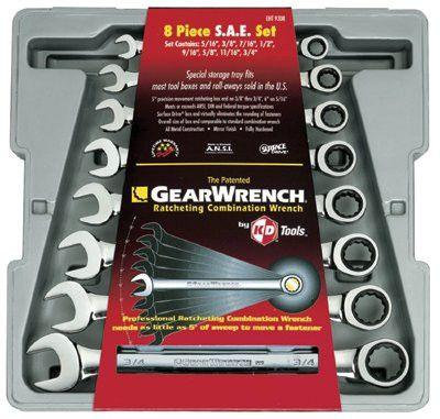 GearWrench 9308D 8 Pc. 12 Point Ratcheting Combination SAE Wrench Set