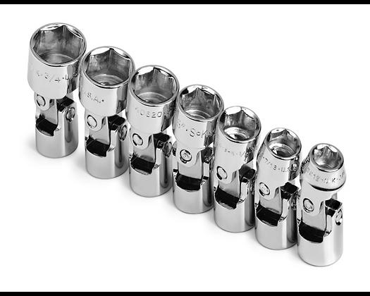 S-K 4607 7pc 3/8in Dr 6 Pt Flex Fract Chrome Socket Set
