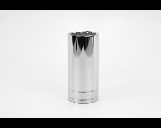 S-K 40836 1-1/8in 1/2in Dr 12 Pt Fract Dp Chrome Socket