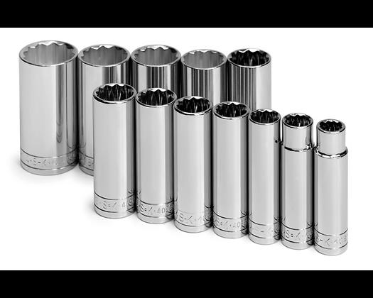S-K 4812 12pc 1/2in Dr 12 Pt Dp Fract Chrome Socket Set