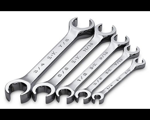 S-K 381 5pc 6 Pt Fract Flare Nut Chrome Wrench Set