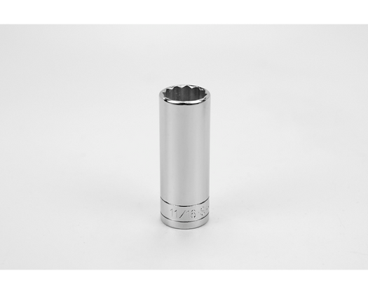 S-K 42422 11/16in 3/8in Dr 12 Pt Fract Dp Chrome Socket