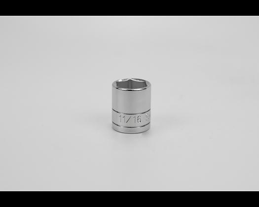 S-K 45022 11/16in 3/8in Dr 6 Pt Fract Std Chrome Socket