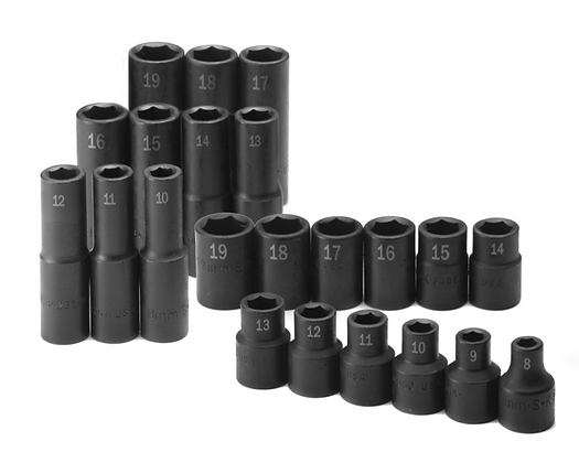 S-K 4052 22pc 1/2in Dr 6Pt Metric Std & Dp Impact Socket Set