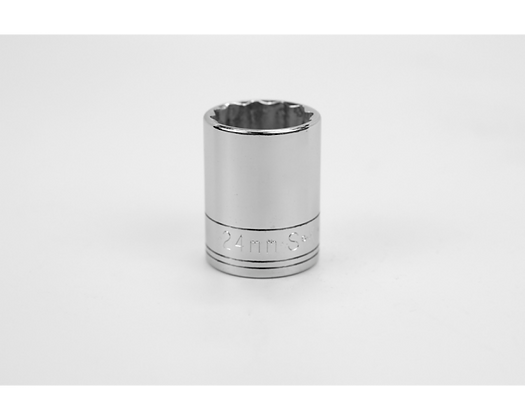 S-K 40324 24mm 1/2in Dr 12 Pt Metric Std Chrome Socket