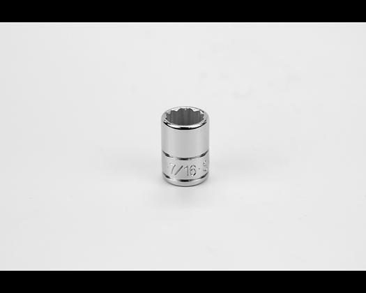 S-K 43914 7/16in 1/4in Dr 12 Pt Fract Std Chrome Socket