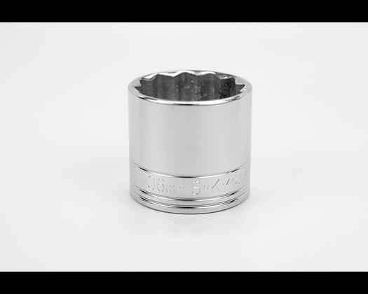 S-K 40336 36mm 1/2in Dr 12 Pt Metric Std Chrome Socket