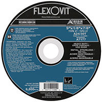 "FlexOvit A7177 Type 27 Cutoff, Notching & Light Grinding Wheel 9"" x 1/8"" x 7/8"""