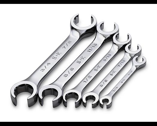 S-K 386 5pc 15 Deg Offset Flare Nut Chrome Wrench Set