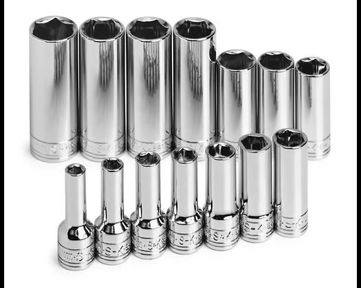 S-K 1854 14pc 3/8in Drive 6 Pt Dp Metric Chrome Socket Set