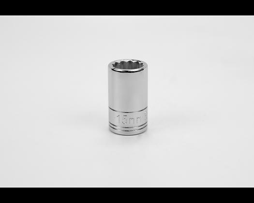 S-K 40315 15mm 1/2in Dr 12 Pt Metric Std Chrome Socket