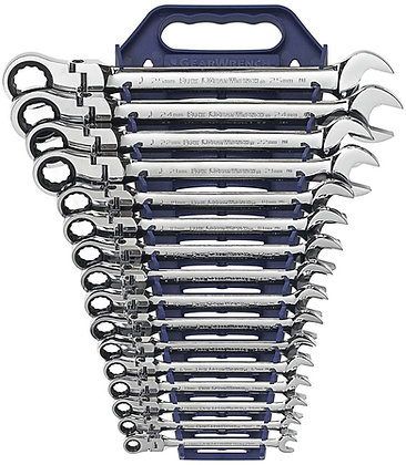 GearWrench 9902D 16 Pc 12 Pt Flex Head Ratcheting Combination Metric Set