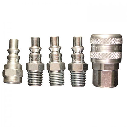 Milton S-213 1/4in. NPT A-Style Coupler and Plug Kit, (5-Piece)