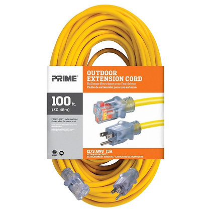 Prime EC511835 100ft 12/3 SJTW Jobsite Outdoor Extension Cord