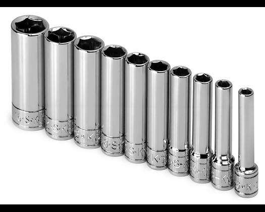 S-K 4911 10pc 1/4in Dr 6 Pt Dp Fract Chrome Socket Set