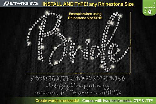 Editable Rhinestone template Script font TTF Font by Artworks SVG