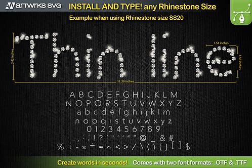 Rhinestone template Editable Skinny | TTF Font by Artworks SVG
