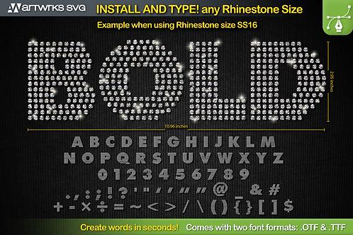 Rhinestone template Editable Modern | TTF Font by Artworks SVG