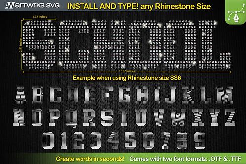 Rhinestone template Editable Athletic | TTF Font by Artworks SVG