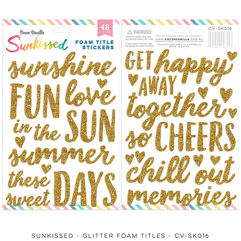 Cocoa Vanilla - Sunkissed – Gold Glitter Foam Titles