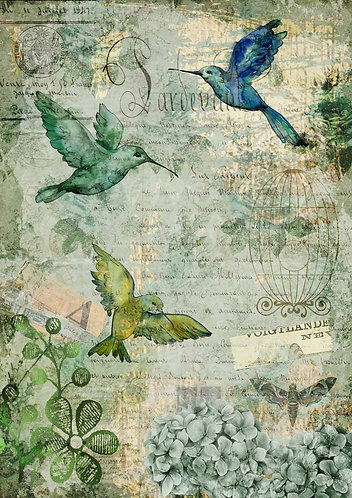 Decoupage Queen® Decoupage Paper -Afternoon Hummingbirds