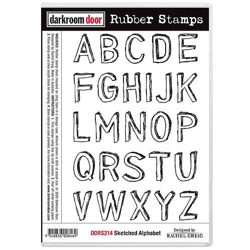 Darkroom Door® Rubber Stamp Set - Sketched Alphabet
