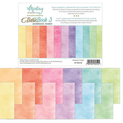 Basic Backgrounds Book by Mintay Papers® - Rainbow - 6 x 8