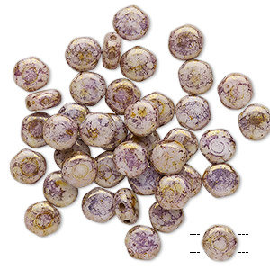 Bead, Preciosa, Czech pressed glass, marbled opaque purple, 6mm puffed disc