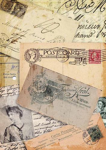 Decoupage Queen® Decoupage Paper - Postcard Collage