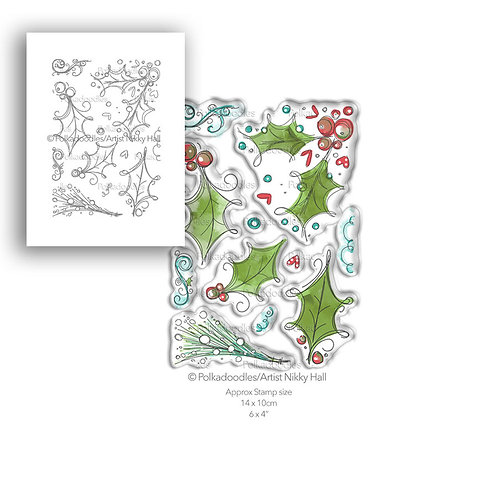 Polkadoodles® Ho Ho Holly Stamp