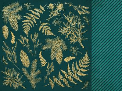 Emerald Eve 12x12 Scrapbook Paper - EMERALD LEAVES
