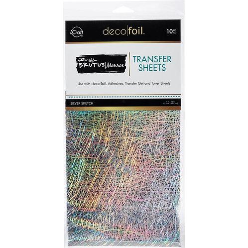 "Brutus Monroe Deco Foil Transfer Sheets 6""X12"" - Silver Sketch"
