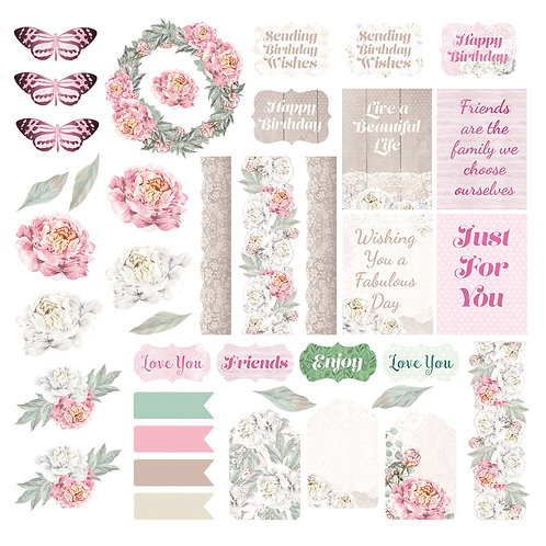 Couture Creations Ephemera Pack - Peaceful Peonies