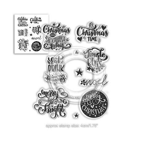 Polkadoodles® Merry & Bright Christmas Greetings Stamp