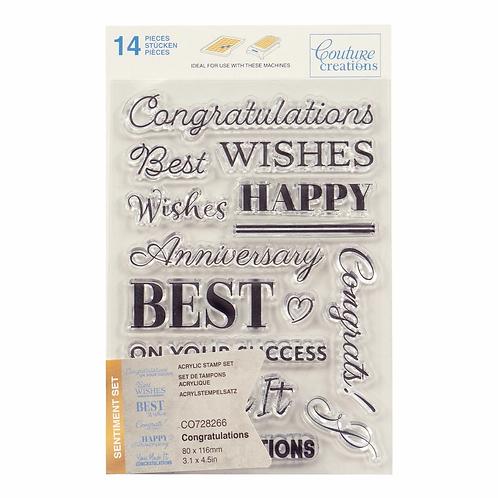 Couture Creations® Stamp Set - Congratulations Sentiment (14pc)
