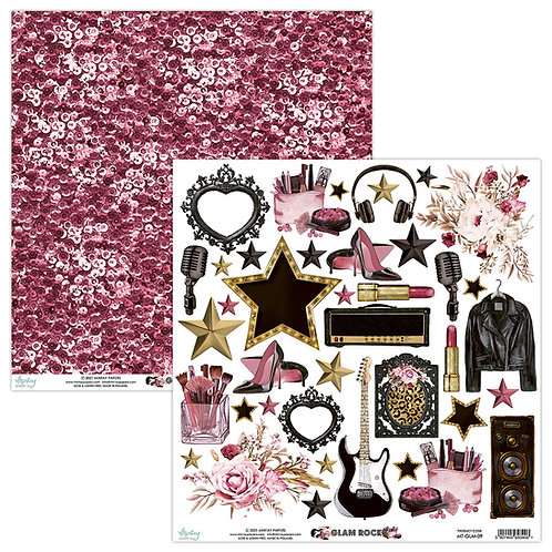 Glam Rock 12 x 12 Elements Paper by Mintay Papers