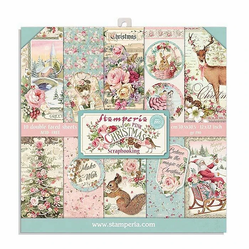 Stamperia® 8 x 8 Paper Pad - Pink Christmas