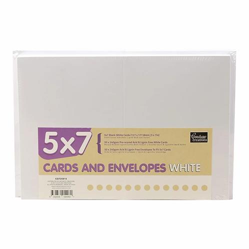 Card + Envelope Pack - White 5x7 (50 Sets)