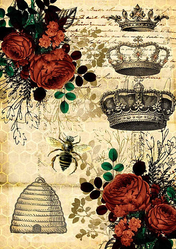 Decoupage Queen® Decoupage Paper - Queen Bee & Red Roses