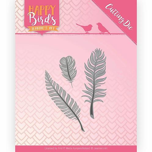 Jeanine's Art - Happy Birds - Trio of Feathers - Dies