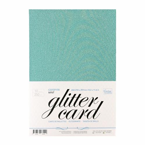 A4 Glitter Cardstock - Mint/Aqua 10 Sheets