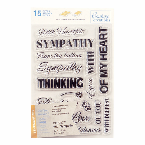 Couture Creations® Stamp Set - With Sympathy Sentiment (15pc)