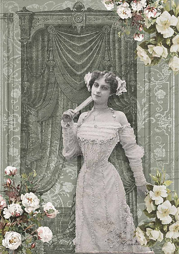 Decoupage Queen® Decoupage Paper - French Lady in Green Room