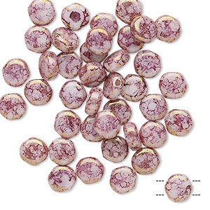 Bead, Preciosa, Czech pressed glass, marbled opaque violet, 6mm puffed disc