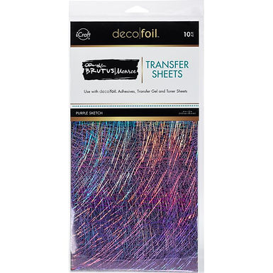"Brutus Monroe Deco Foil Transfer Sheets 6""X12"" - Purple Sketch"