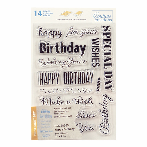 Couture Creations® Stamp Set - Happy Birthday Sentiments (13pc) -