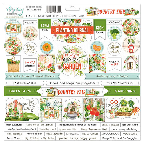Country Fair 12 x 12 Chipboard Sticker Sheet by Mintay Papers