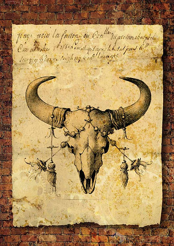Decoupage Queen® Decoupage Paper - Grunge Bull Skull