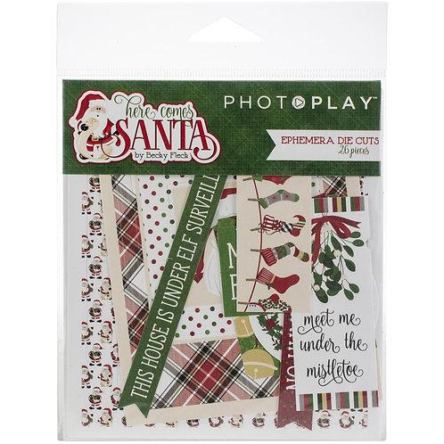 Photoplay® Die Cut Ephemera - Here Comes Santa