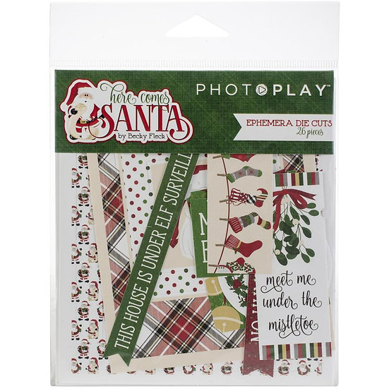 Photoplay® Die Cut Ephemera - Here Comes Santa